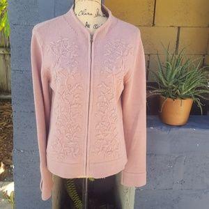 Votre Nom embellished mauve zip front sweater.
